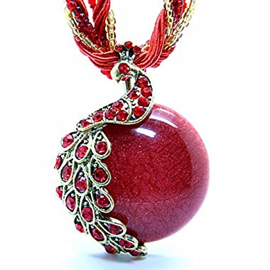 Mothers Day Gifts Zonman Pretty Jewelry Retro Bohemia Style Pendant Opal Phoenix Peacock Necklace (P4)