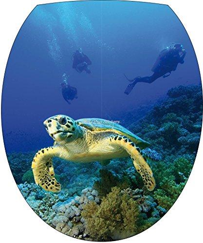 Stickersnews–adesivo wc, adesivo per copriwater tartaruga subacquei