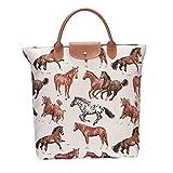 Running Horse fold away shopping bag by Signare | donna riciclaggio riutilizzabile tessuto spalla Tote | 21x 12x 1.5cm | (fdaw-rhor)