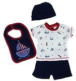 Baby Jungen Sommer vier Stück Kostüm Shorts T-Shirt Hut Lätzchen Set Boot Themes - einzeln Boot Latz, 3-6 Monate