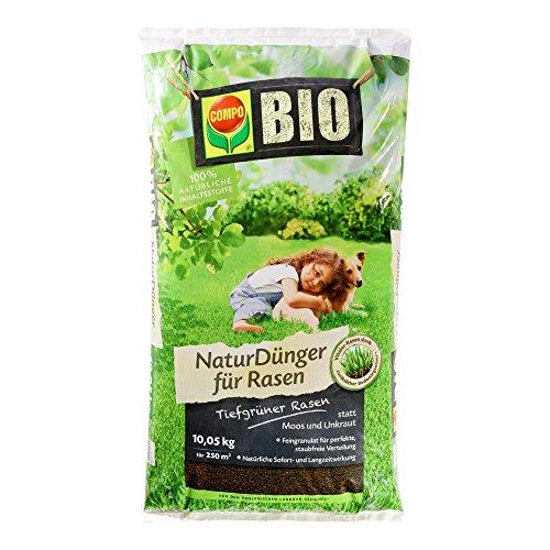 COMPO BIO NaturDünger für Rasen, Natürliche Sofort- und Langzeitwirkung, Feingranulat