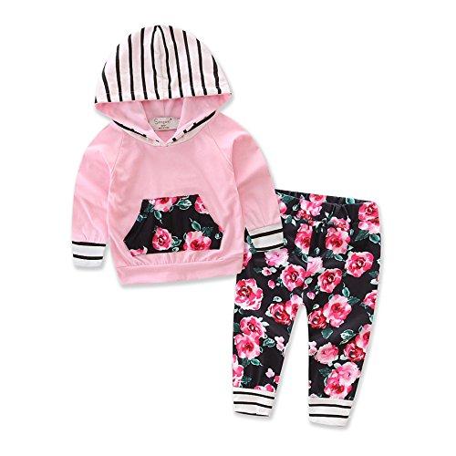 Funnycokid 2Pcs Baby Girls Set Floral Hoodies Sweatshirt Mit Pocket + Floral Lange Hose Set Leggings Outfits (Floral Pullover)