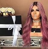 """VVZiel 28 """"Long bouclé perruque rose violet perruque naturelle ondulée synthétique robe de cheveux quotidiens Halloween fête de carnaval perruques avec bouchon de perruque"""
