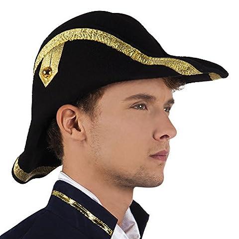 erdbeerclown - Admiral Zweispitz Hut mit Verzierungen Karneval , Schwarz (Frankreich Kostüm Für Jungen)