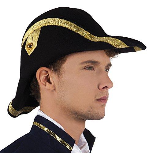 Fancy Ole - Admiral Zweispitz Hut mit Verzierungen Karneval , Schwarz (Admiral Hut)