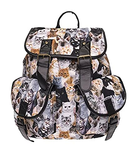 Kukubird Double Pocket Book Bag Cats Pattern Vintage Rucksack Backpack
