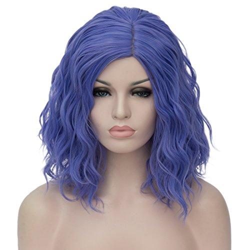 Kurze Lockige Cosplay Perücken Für Frauen Halloween Party Phantasie Dressing Mit 1 Gratis Perücke Kappe (Blau) (Billige Blaue Halloween Perücken)