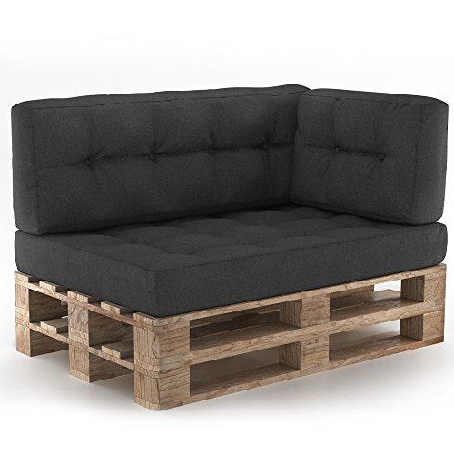 Vicco Palettenkissen Set mit Holzlehnen Sitzkissen Rückenlehne Palettensofa gesteppt (Sitz+Rücken+Seitenkissen, Anthrazit) - Nachricht Matratze