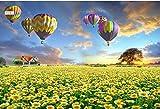 LONGYUCHEN Benutzerdefinierte 3D Seide Wandbild Tapete Pflanze Muster Gelbe Blume Heißluftballon Geeignet Für Schlafzimmer Wohnzimmer Tv Hintergrund Wand Dekoration Wandbild,250Cm(H)×360Cm(W)