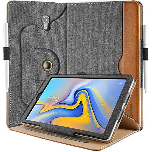 EasyAcc Hülle für Samsung Galaxy Tab A 10.5, 360 Grad Drehung/ 100% PU Leder Langlebig ohne Plastikund, mit Tasche Stifthalter, Auto Wake/Sleep, Kompatibel für Samsung Tab A 10.5 SM-T590/ T595, Grau