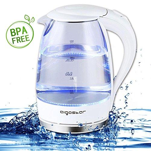 Aigostar Eve 30GON - Glas Wasserkocher mit LED-Beleuchtung, 2200 Watt, 1,7 Liter, kochtrocknender Schutz, BPA frei, weiß. Exklusives Design