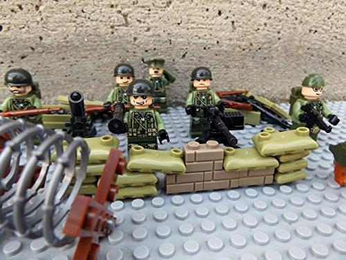 Armee-figur Bei (Modbrix 6 Stück Soldaten Figuren WW2 US Army Infanterie Minifiguren Schützengraben mit MG Stellung und 2 Waffenkisten voller Custom Waffen)