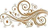 GRAZDesign 560019_30_083 Wandtattoo Blumen und Ornamente | Blumentattoo für Wohnzimmer - Schlafzimmer - Küche | Blumenranken und Pflanzen an die Wand als Wand-Aufkleber (51x30cm//083 haselnussbraun)