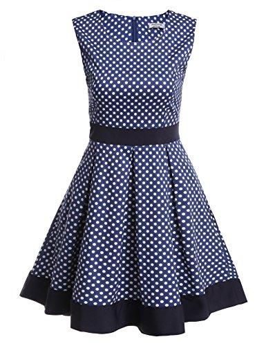 ANGVNS Damen Polka Dots Vintage Kleid Cocktailkleider Sommerkleid Partykleider Ärmellos Slim Fit Faltenrock Kurz Kleider A-Linie