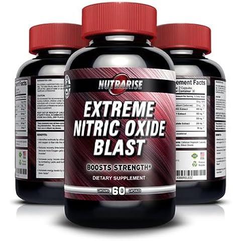 Incrementador extremo de Óxido Nítrico con L-Arginina y L-Glutamina para Construir Músculo Rápido, Aumenta el Rendimiento durante el Entrenamiento, Incrementa la Dureza del Músculo, Aumenta la Energía, Resistencia y el Periodo de Recuperación – 60