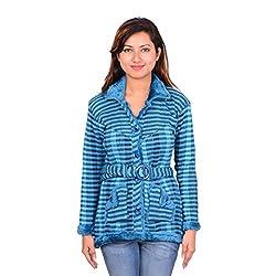 ahhaaaa Women's Wool Quilted Cardigan (FEROZI673_SKy_M)