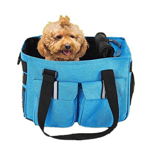 Petcomer Borsa da Viaggio Pieghevole Trasportino Morbido per Cani Gatti Trasporto Conveniente Borse Comoda Leggero per Animali Domestici(Blu)