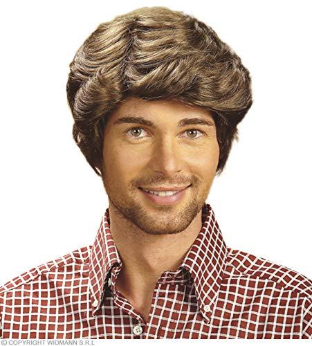 Perücke Herren Pop 70 Schlagerparty Schlager Disco Braun Kurz parrucca brown wig