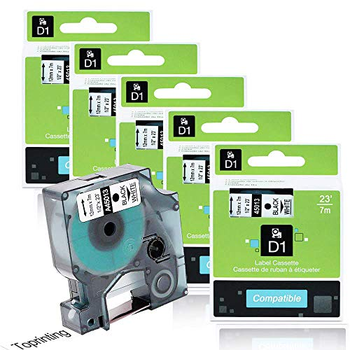 Ersetzen DYMO D1 Schriftband 45013 S0720530 Schwarz auf Weiß (12 mm x 7 m) Etiketten, kompatibel Dymo LabelPOINT LabelManager 4X LM 100 160 200 210D 280 360D 420P 500TS PnP LabelWriter 450 Duo