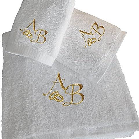 5Sterne Top Qualität Gold personalisierte Hochzeit Geschenk Anniversary Bad Set–Badetuch, Handtuch, Gästetuch