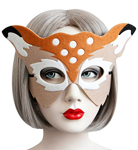 Sexy Halloween Party Maske Animal Half Face Masken für Weihnachten Kostüm Masquerade Ball Ball Fancy Kleid Partyzubehör verkleiden Erwachsene Kinder reh / hirsch (Kostüm Animal Sexy)