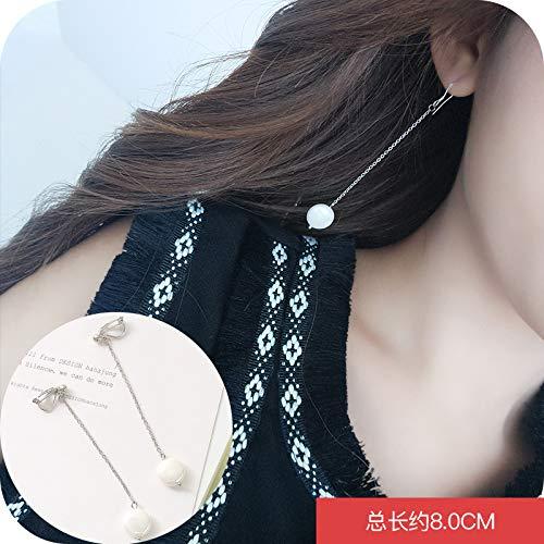 VVSBAOZI Kristall Ohrringe Ohrringe weibliche Temperament koreanische einfache wilde lange Ohrringe Ohrclips ohne Ohrringe Ohrringe japanische und koreanische Persönlichkeit einfache Ohrringe, 67 # runden Bart Clip