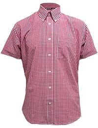 Relco - Chemise à manches courtes - motif vichy - classique - homme - rouge