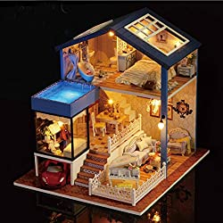 Mamum Maison de poupée à faire soi-même 3D en bois avec lumière cadeau festif, 26*27*24cm, 5.9*4.13*4.92 inches