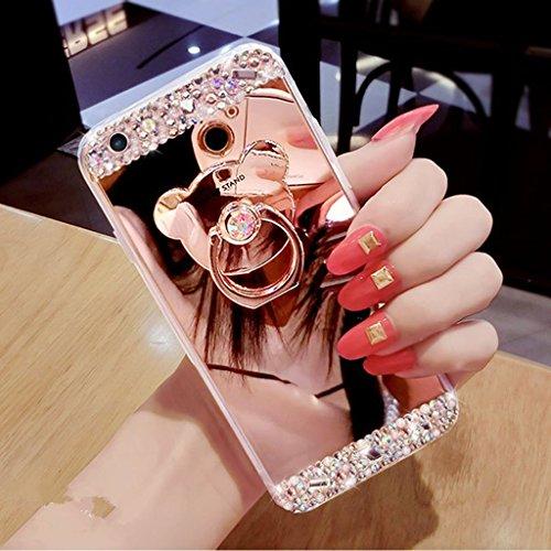 Uposao Spiegel Schutzhülle Huawei P9 Lite Mini HandyHülle Bär Handy Ringhalter Glänzend Glitzer Strass Überzug Mirror Kirstall TPU Silikon Handytasche Dünn Crystal Case TPU Bumper Rose Gold