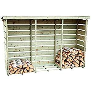 Charles Bentley Nordic Spruce Heavy Duty Wooden Garden Large Triple Log Store Pressure Treated Firewood Log Storage