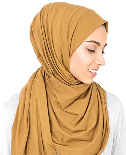 InEssence© New Cumin Yellow Cotton Jersey Scarf Ladies Wrap Regular Size Hijab