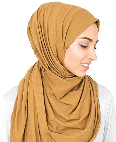 InEssence© New Cumin Yellow Cotton Jersey Scarf Ladies Wrap Maxi Size Hijab