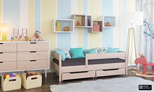 Toddler Miki Kinder Einzelbett mit Schubladen, 4Farben, viele verschiedenen Größen -, holz, Bleached Oak, 160x80