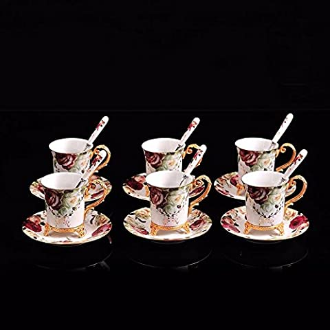 Upper-Coffee set ceramic with copper coffee cup six cup saucer tea cup coffee cup dish tea cup,Six piece