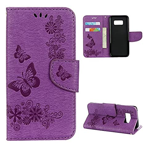 For Samsung Galaxy S8 Plus Flip Case, Galaxy S8 Plus Leather Wallet Case, Rosa Schleife PU Leather Butterfly Flower Embossed Floral Flip Folio Magnetic Buckle Phone Case Protective Shell Skin Cases Covers with Credit Card Holders and Hand Wrist Strap for Samsung Galaxy S8 Plus 2017