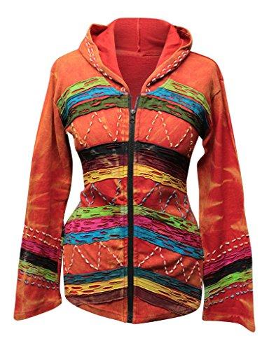 Shopoholic Fashion Femme Décoloré Grunge Hippie Capuche Boho Découpé Pull Orange