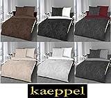 Kaeppel Biber Feinbiber Bettwäsche 100% Baumwolle Texture 135x200 / 80x80 rubin 784-510 + Aufbewahrungsbeutel