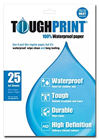 Toughprint Waterproof Paper - Inkjet - 25 A4 Sheets