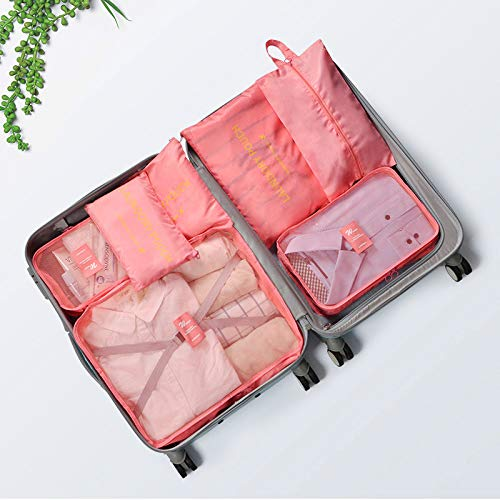 Aufbewahrungstasche Reiseaufbewahrungstasche Set Gepäck Koffer Finishing-Paket wasserdicht Innenbekleidung Aufbewahrungstasche Bundle-Tasche 7-teilig Set Wassermelonenrot 7-teilig -