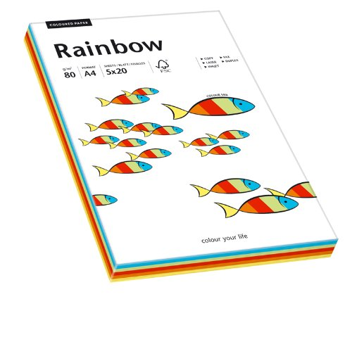 Papyrus 88043188 Multifunktionspapier Rainbow 80 g/m², A4 100 Blatt Intensiv-Mix (Farbige Blatt)