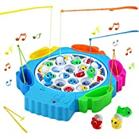 Nuheby Fishing Game Toys Musical Board Game 6 Fishing Rods Gift for Boys Girls 3 4 5 6 Years Old Birthday Xmas Halloween