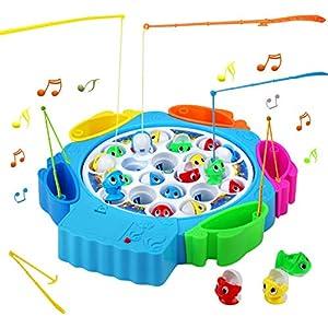 Juegos de Mesa de Pesca Musical 21pcs Peces Juguete con 6 Cañas de Pescar Juguetes Educativos para 3 4 5 Niños, Azul