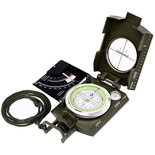 YTBLF Militärischer Multifunktionskompass, prismatischer Zielkompass - magnetischer wasserdichter Handheld-Kompass für Pfadfinderjagd Camping Segeln Navigation Wandern