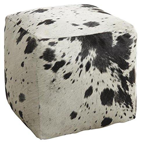 PEGANE Pouf Cube en Peau de Vache Naturelle, 40 x 40 x 40 cm