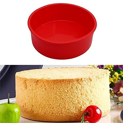 ODN Silikon Backform Runde Kuchenform Mikrowellenherd Cake pan 6 inch,Rot