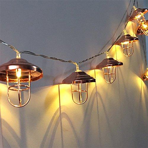 3M 30LEDs Rose Gold Metall Käfig Form Fairy Lights zum Aufhängen für Innen, Schlafzimmer, Bar, Kaffee SHOPE, Fairy Garden, Haus, Hochzeit, Urlaub, Weihnachtsbaum, Party (Käfig Light-anhänger 4)