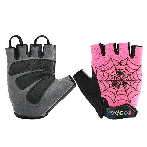 BOODUN Mädchen Jungen Fahrrad Handschuhe Halb Finger Fahrrad Sport Trainingshandschuhe (Pink-Spinnennetz, M)