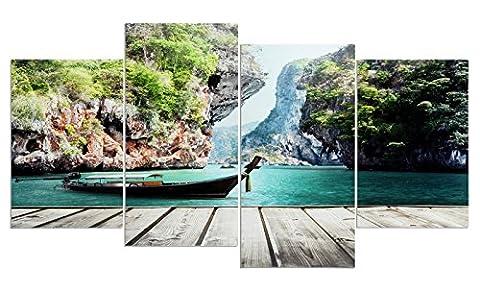 levandeo Wandbild 4 teilig 130x70cm - Wasser Landschaft Boot Natur