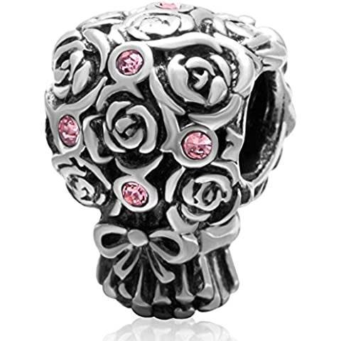 Soulbead Bouquet di Nozze Ciondolo in argento Sterling 925con cristalli compatibile con marchio europeo Braccialetto Pink Crystal