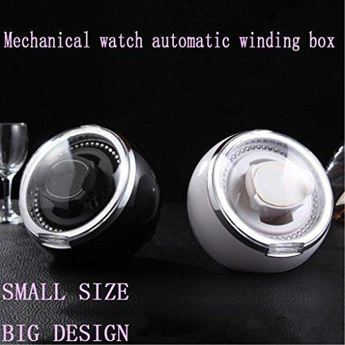 WuShuang Sphärische Uhr Winder/Schütteln Watch Box/Mechanische Uhr Box/Automatik Uhr Motor Box kleinen Volumen mit 4 Bewegungsmodus LED-Beleuchtung, ruhig, 151 * 151 * 143MM, Black